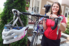 Jen, a first-time rider, appeared in the Arlington Advocate